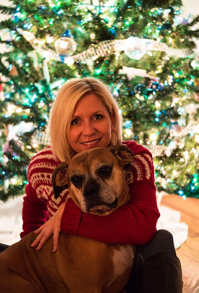 Amy Brinkley and her boxer dog in front of a Christmas tree