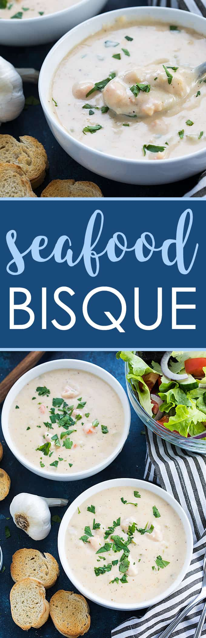 A two image vertical collage of seafood bisque with overlay text in the center.
