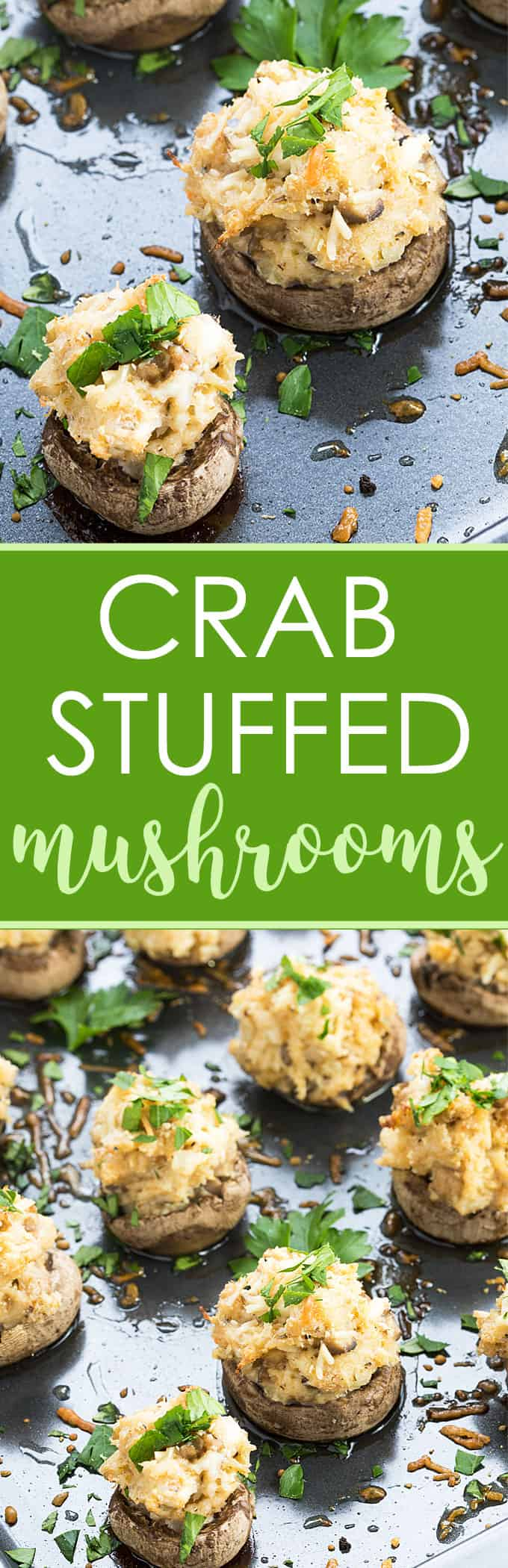 Crab Stuffed Mushrooms - Mushroom caps stuffed with a creamy, cheesy and savory crab meat filling!