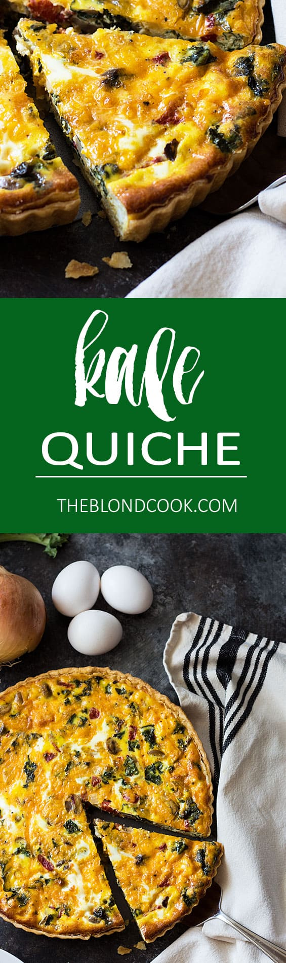 Kale Quiche - A vegetarian quiche chock full of kale, roasted red peppers, mushrooms and onions!