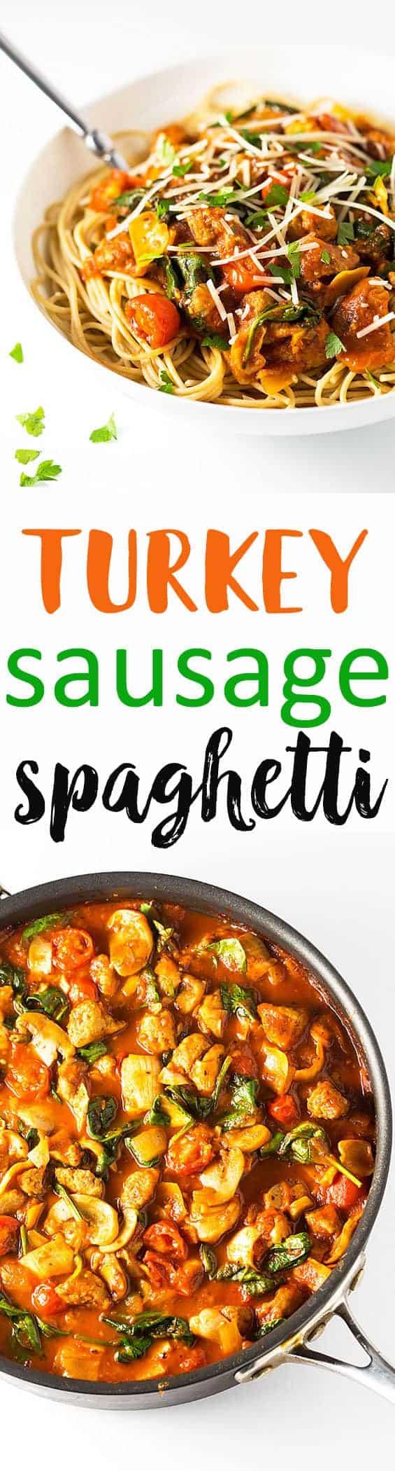 Turkey Sausage Spaghetti - A healthier spaghetti recipe with Italian turkey sausage, mushrooms, artichoke hearts and spinach served over whole wheat spaghetti noodles.