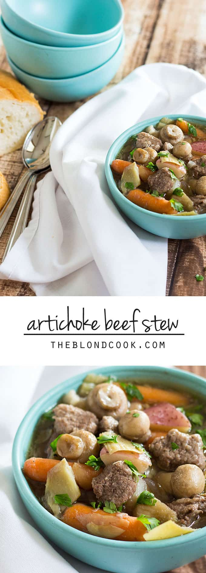 Artichoke Beef Stew - A hearty and comforting beef stew full of artichokes, carrots, potatoes and mushrooms.