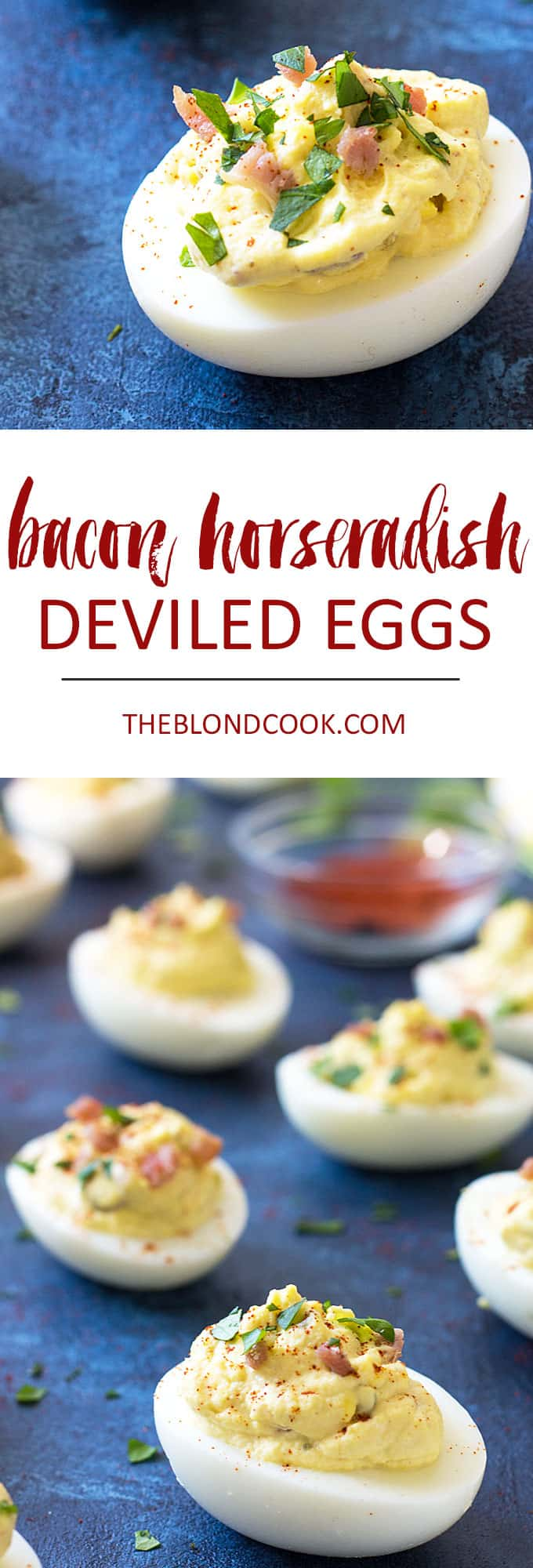 Two images of deviled eggs.  Text in center says bacon horseradish deviled eggs.