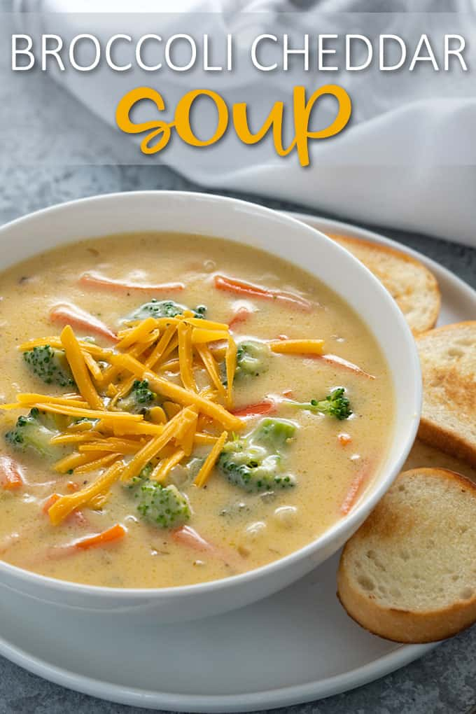 "Broccoli cheddar soup in a white bowl. Text at top reads, ""Broccoli Cheddar Soup"""