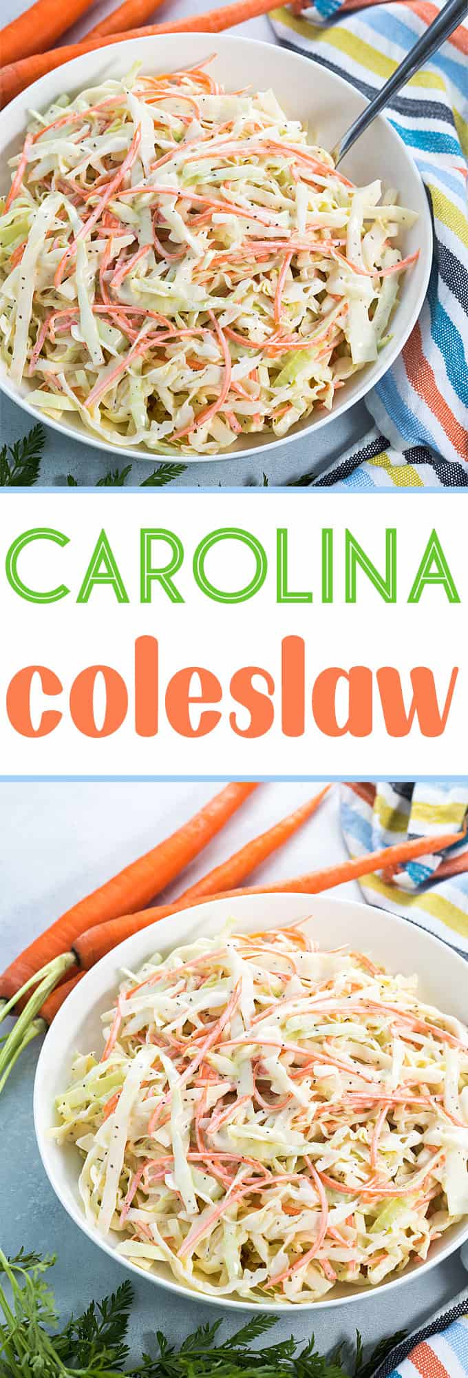 A two image vertical collage of Carolina coleslaw with overlay text in the center.