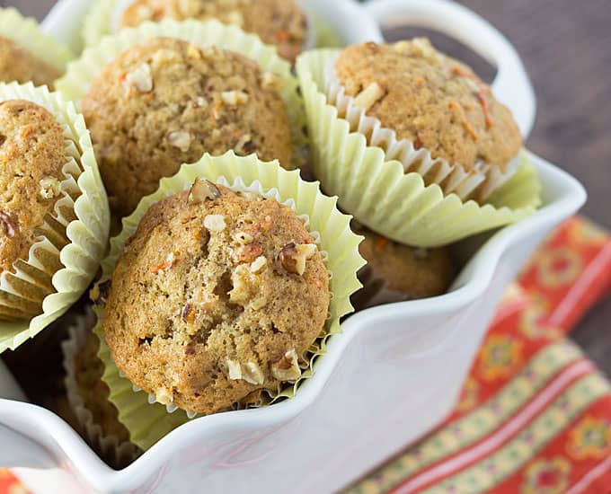 Pineapple Carrot Muffins - Muffins with crushed pineapple, shredded carrots and walnuts... these taste better than CAKE!