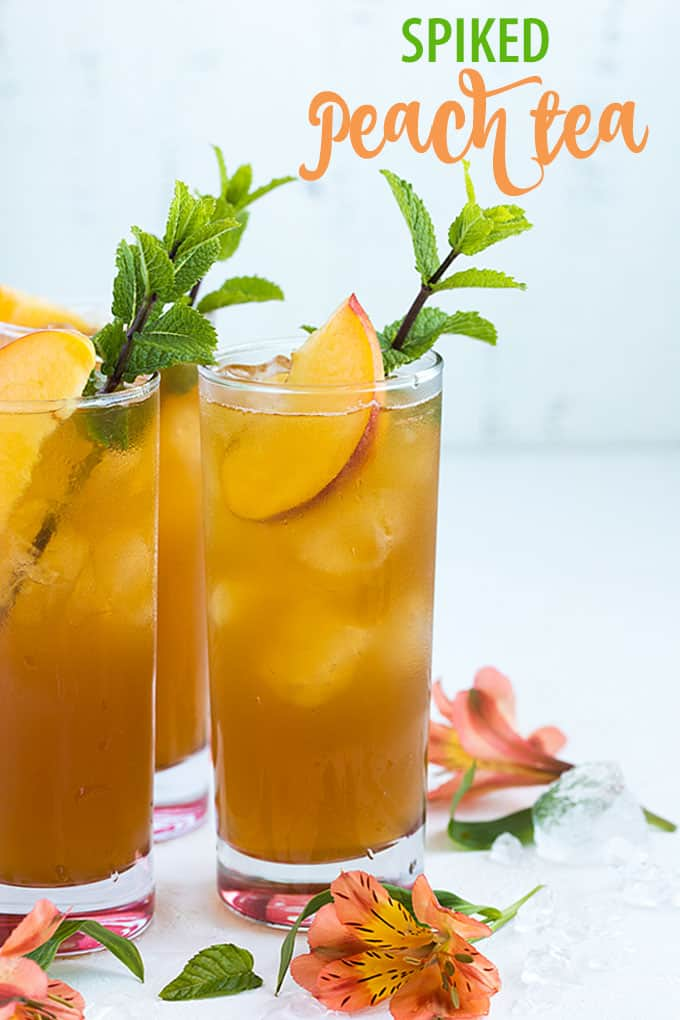Spiked Peach Tea - An easy summertime cocktail with homemade peach tea and whiskey.