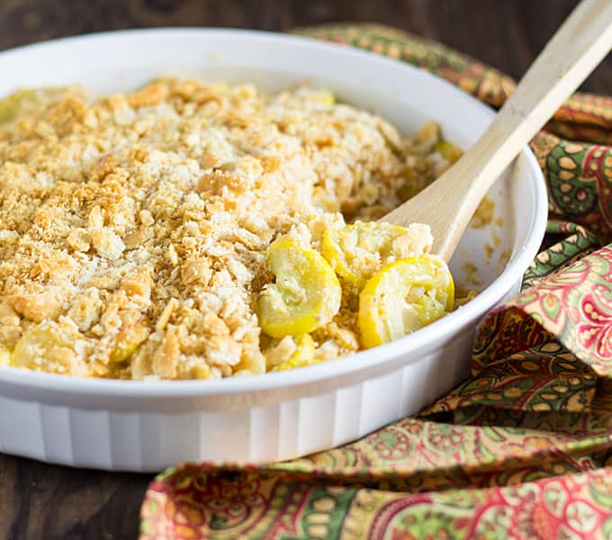 Cheddar Squash Casserole - Creamy and cheesy squash casserole with a buttery crunchy topping!