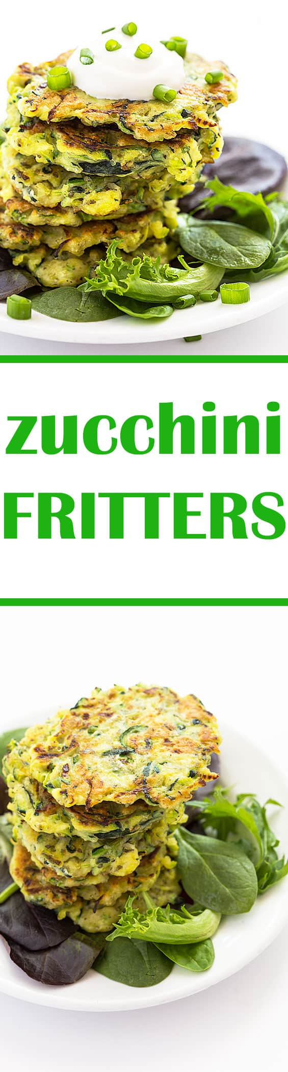 A two image collage of zucchini fritters with overlay text in the center.