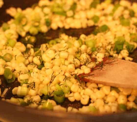 Sauteing Corn & Scallions for Crab, Corn & Egg Casserole