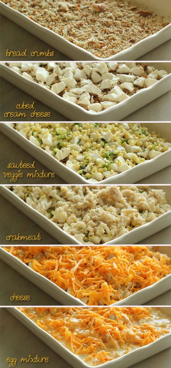 Layering Crab, Corn & Egg Casserole