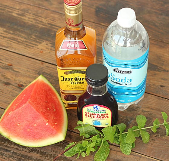 Bottles of tequila, club soda and agave syrup beside fresh mint and watermelon wedge.