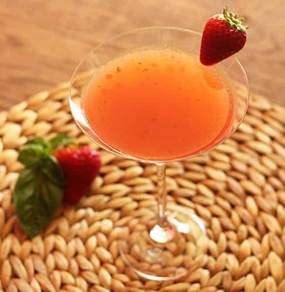 Strawberry Basil Pepper Martini