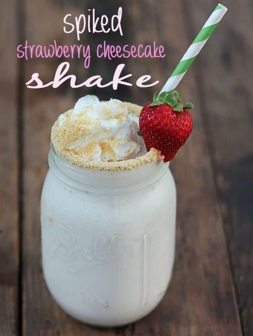 A milkshake in a mason jar topped with whipped cream and graham cracker crumbs. Text at top of image.