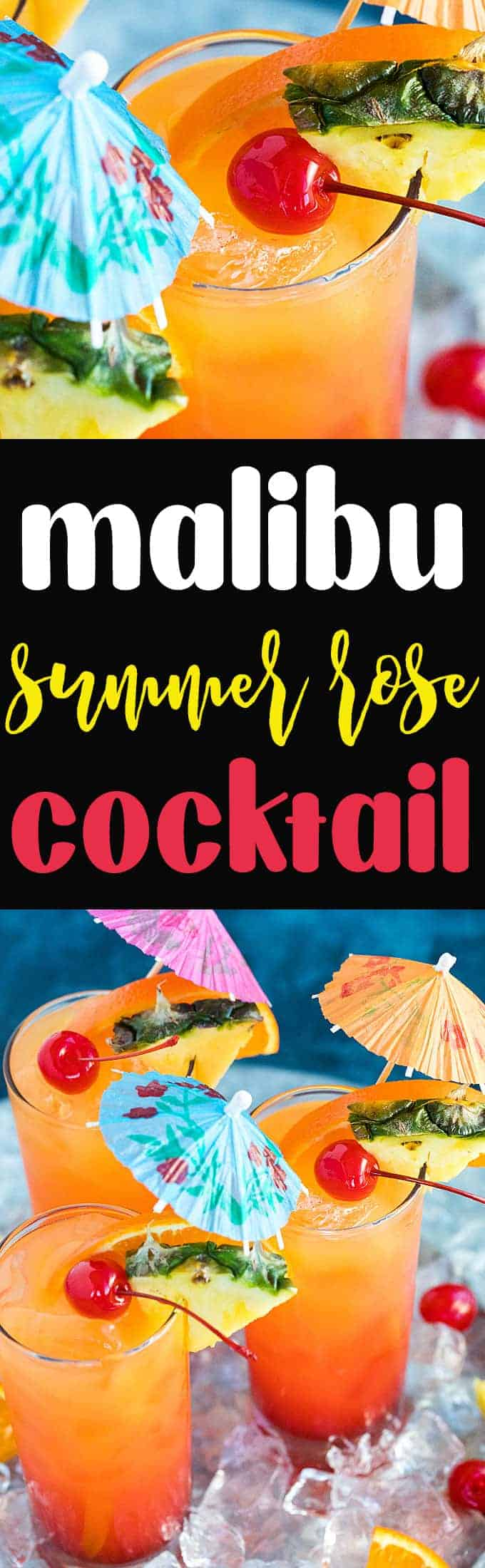 Malibu Summer Rose Cocktail - Coconut rum, peach schnapps, pineapple juice, orange juice and grenadine come together in one of the most amazing cocktails you'll ever drink!