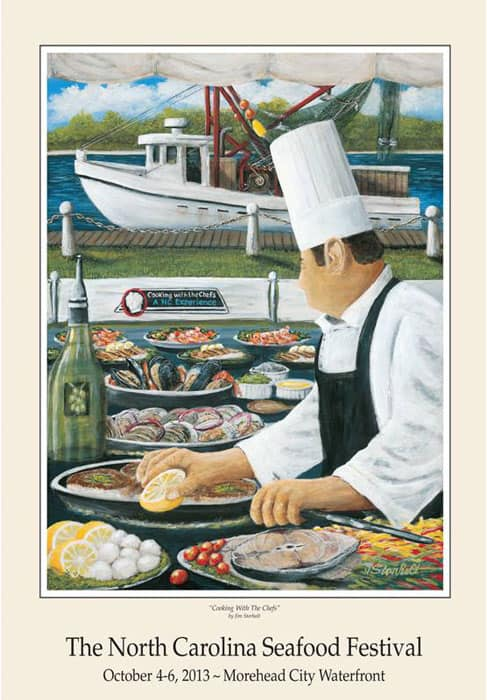 An image of a poster of a chef cooking with a boat in the background.