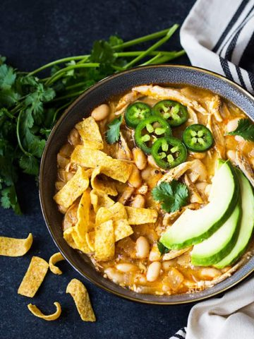 Easy 30-Minute White Chicken Chili - Loaded with chicken, white beans and full of zesty flavor!