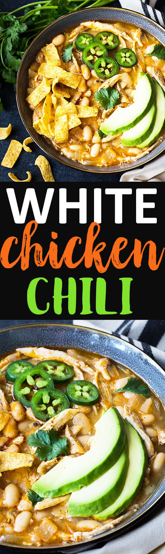 Two images of chili in a bowl.  Text in center says white chicken chili.
