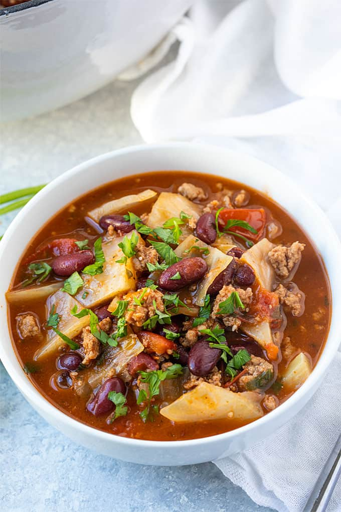 Turkey Cabbage Patch Soup - A hearty and healthier cabbage patch soup prepared with lean ground turkey... always a crowd-pleaser!