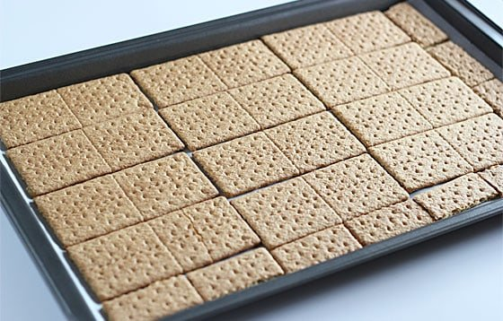 A baking sheet lined with graham crackers.