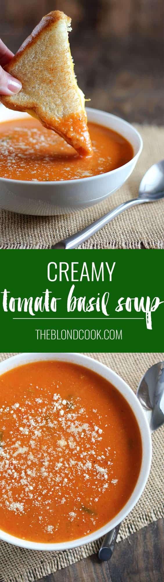Creamy Tomato Basil Soup | theblondcook.com