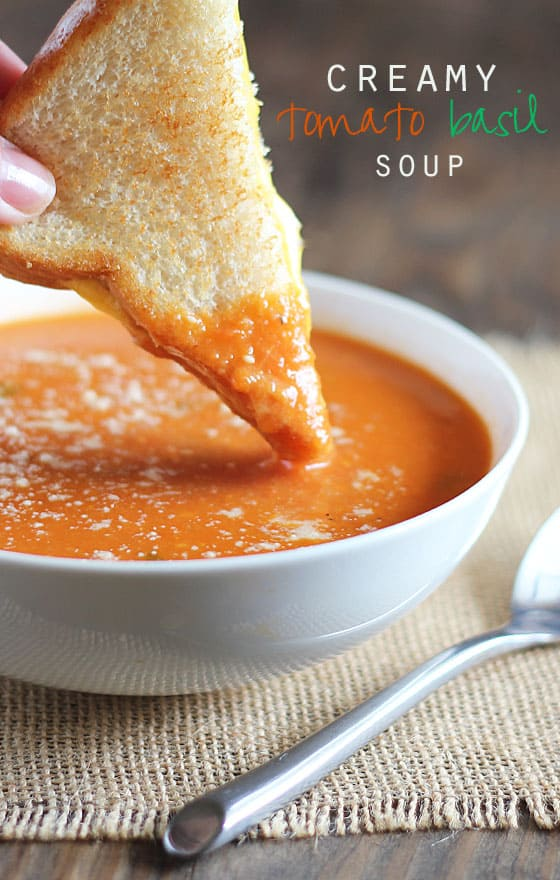 ... LOVE this easy Creamy Tomato Basil Soup that is bursting with flavor