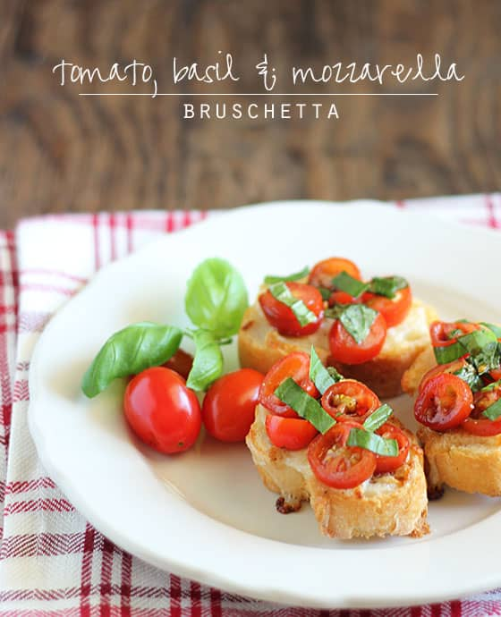 Bruschetta on a round white plate on a folded plaid napkin.  Text at top of image.