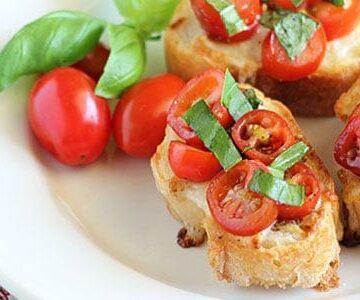 Tomato, Basil & Mozzarella Bruschetta