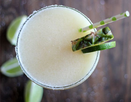 Overhead view of a Frozen Margarita with a paper straw