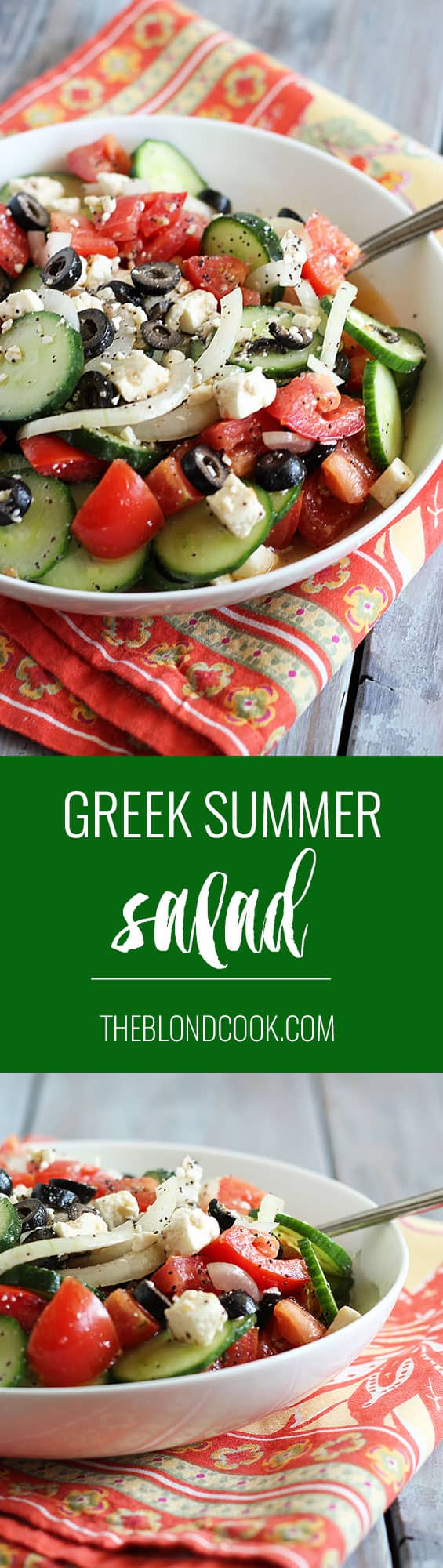 Greek Summer Salad - A Greek-inspired, healthy & hearty summer salad | theblondcook.com