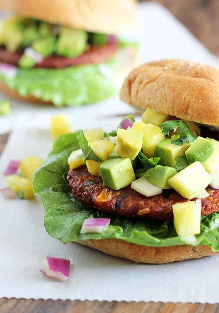 Spicy Black Bean Burgers with Pineapple Avocado Salsa