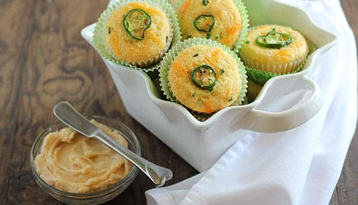 Cheddar Jalapeño Corn Muffins with Chipotle Honey Butter