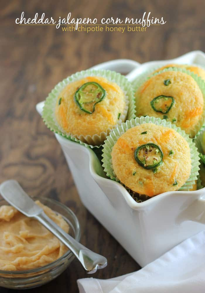 Cheddar Jalapeno Corn Muffins with Chipotle Honey Butter