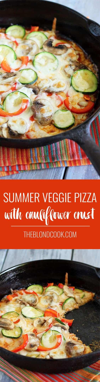 Summer Veggie Pizza with a Cauliflower Crust | theblondcook.com