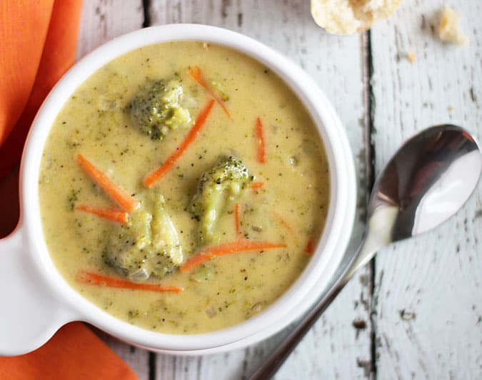 ... baguette… my all-time favorite way to enjoy Broccoli Cheddar Soup