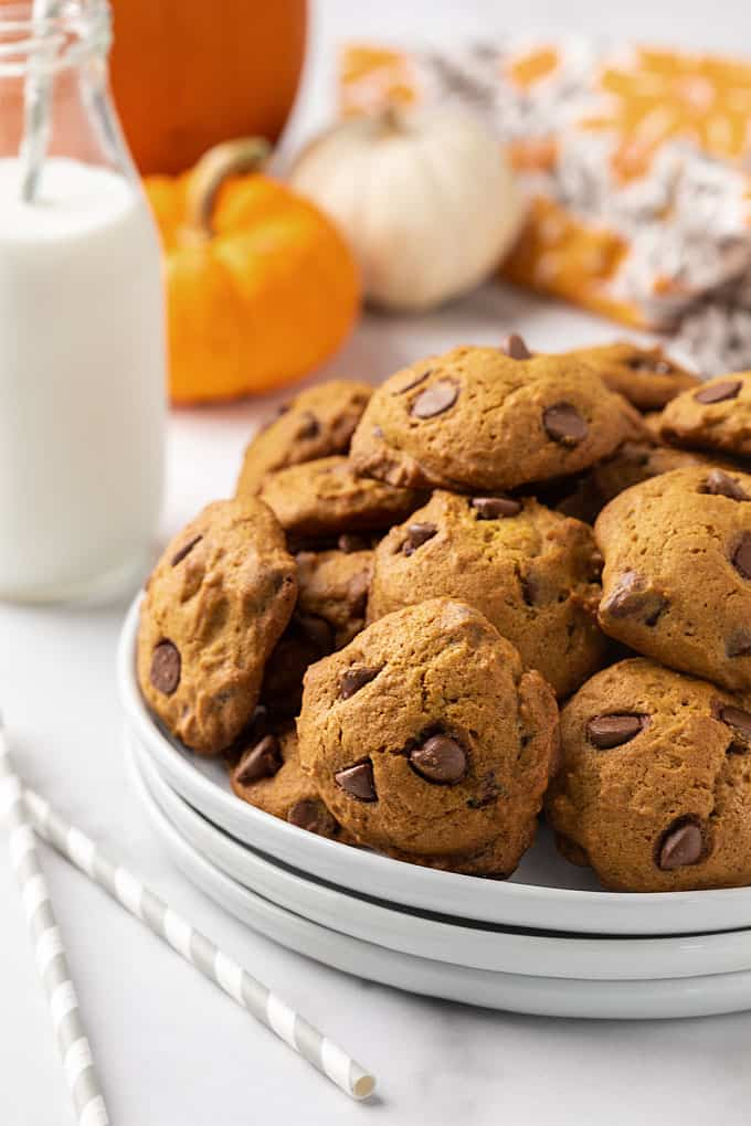 Pumpkin chocolate chip cookies on a white plate with a glass of milk in the background