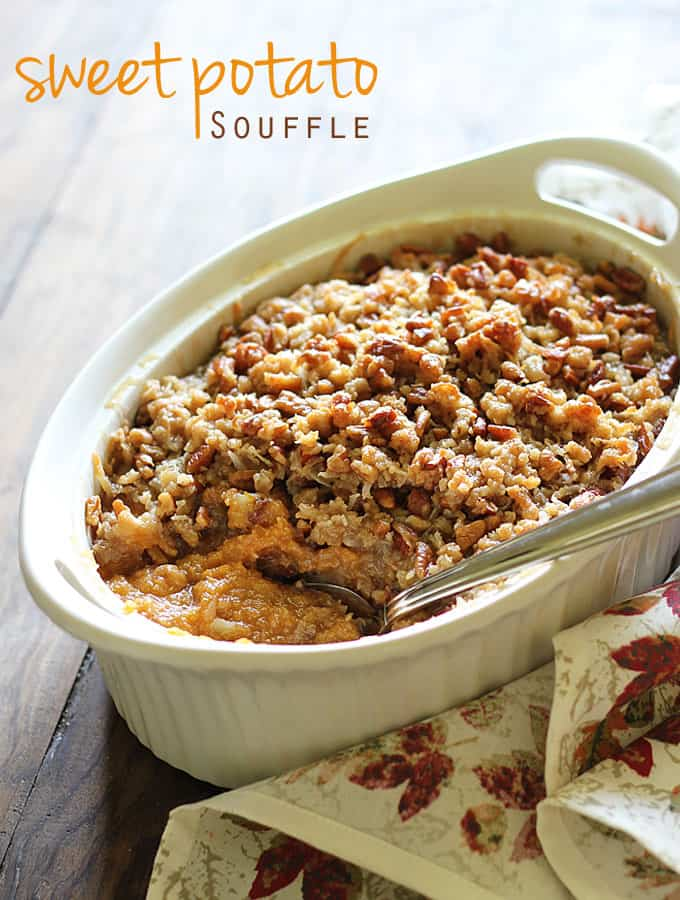 Sweet Potato Soufflé with a buttery pecan coconut topping ~ a perfect fall dessert!