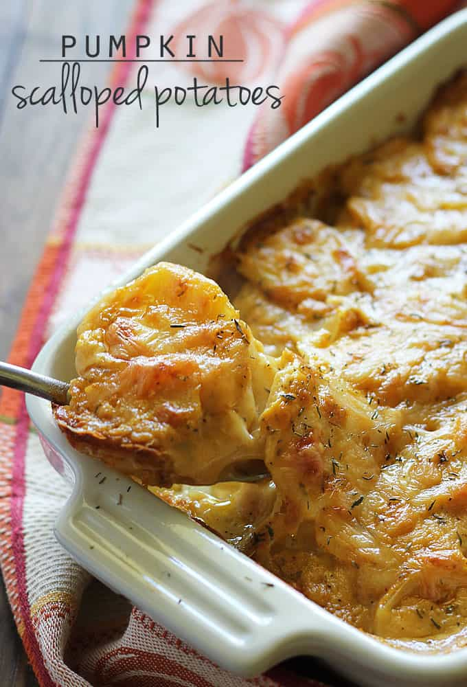 A spoon scooping scalloped potatoes from a white baking dish.