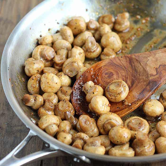 Sauteed Mushrooms ~ A simple recipe for mushrooms sauteed with teriyaki, balsamic vinegar and seasonings.