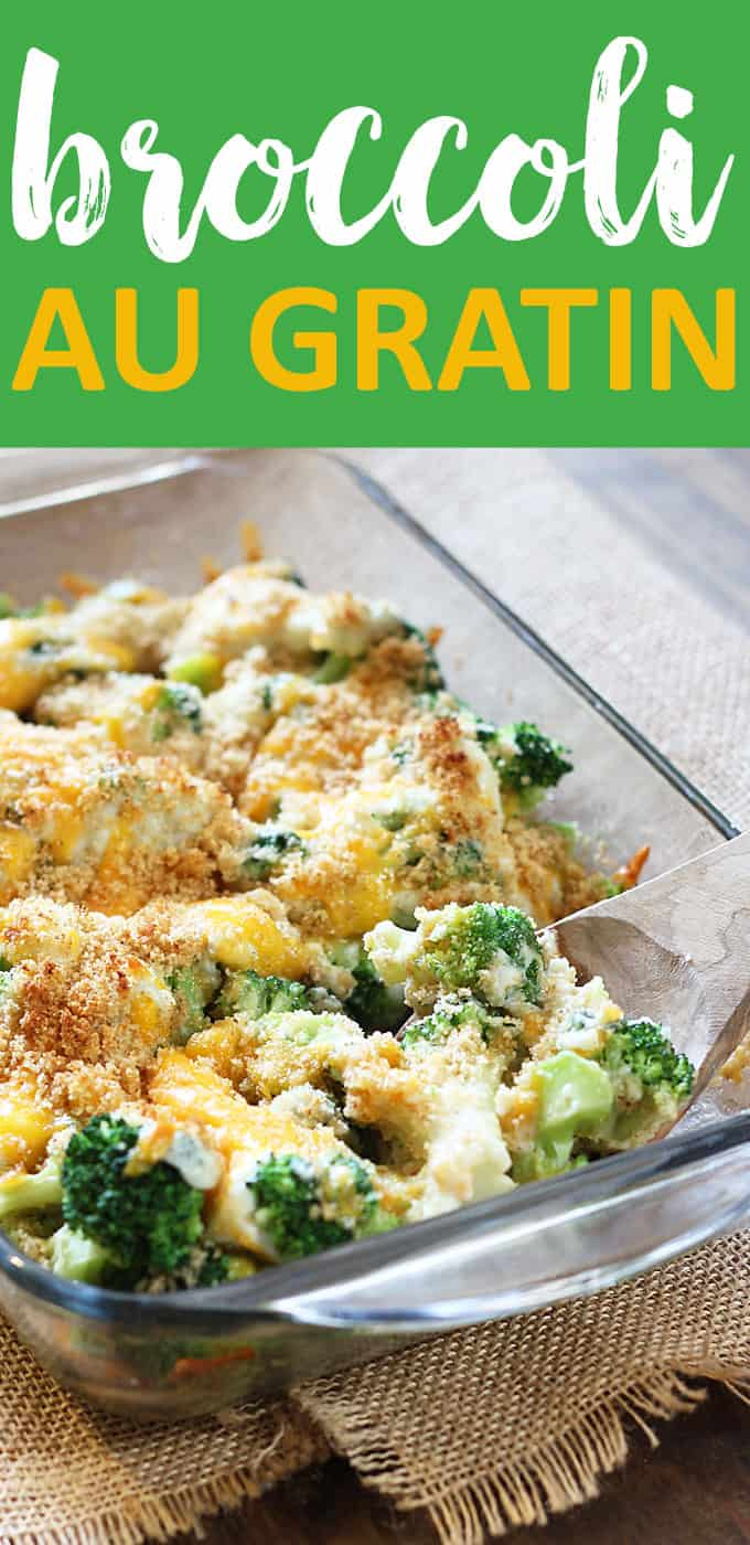 Broccoli with cheese and breadcrumbs in a baking dish.  Text at top says broccoli au gratin.