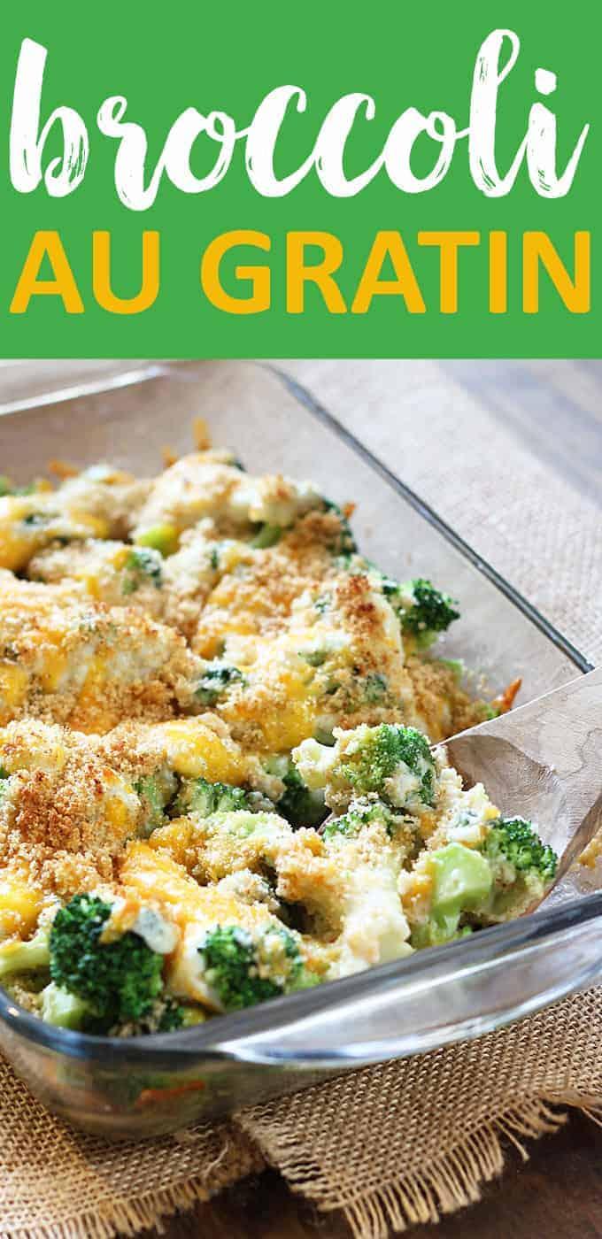 Broccoli Au Gratin - Creamy, cheesy broccoli with a crunchy breadcrumb topping.