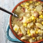 Corn Chowder ~ A lactose-free, creamy and delicious corn chowder with bacon, potatoes & seasonings!