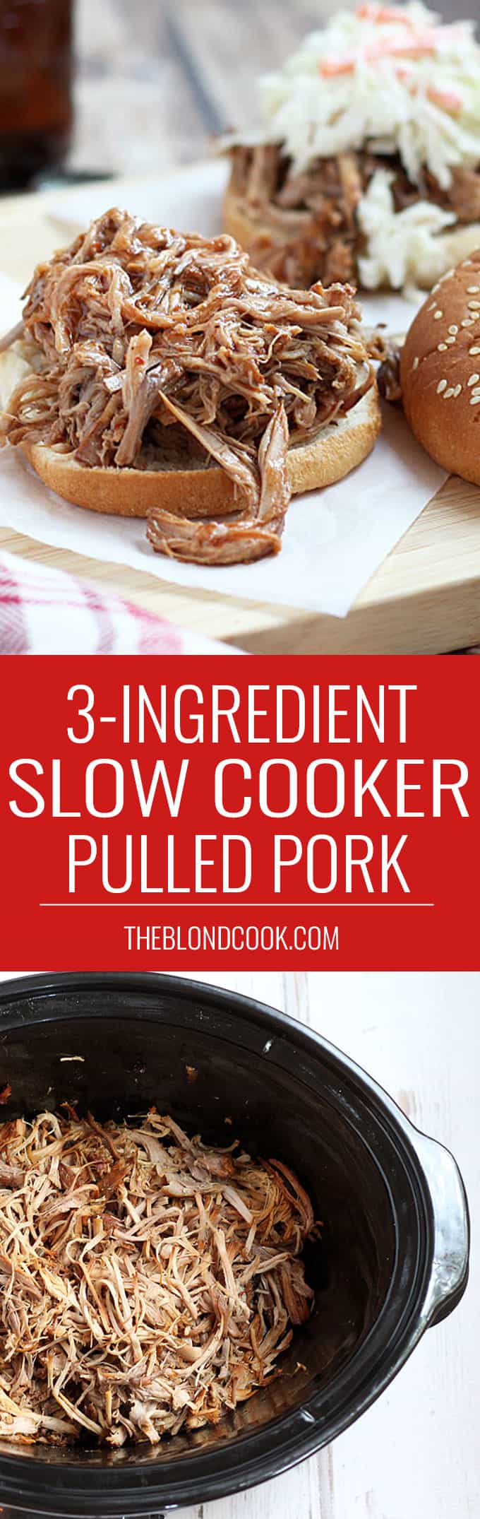 3-Ingredient Pulled Pork - Just THREE ingredients for the easiest and most flavorful barbecue!