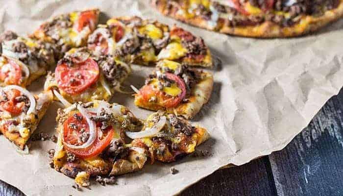 Naan Cheeseburger Pizza