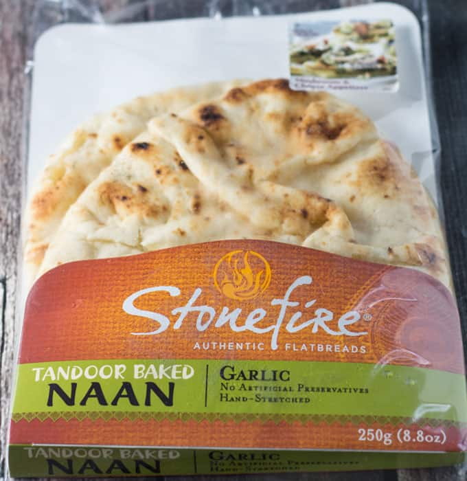 A package of naan garlic flatbread.