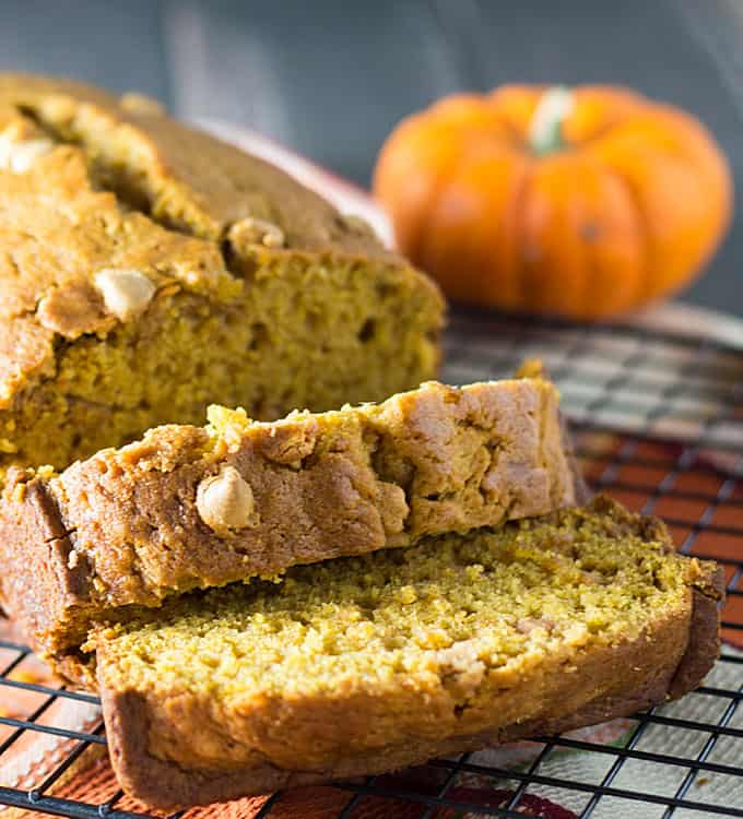 Pumpkin Peanut Butter Bread – Pumpkin, peanut butter chips and spices come together in this perfectly moist bread!