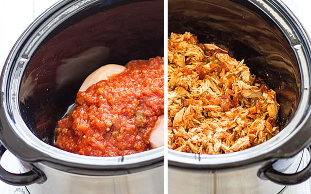 Crockpot Salsa Chicken - Just 2 ingredients in your slow cooker for the BEST Mexican shredded chicken!