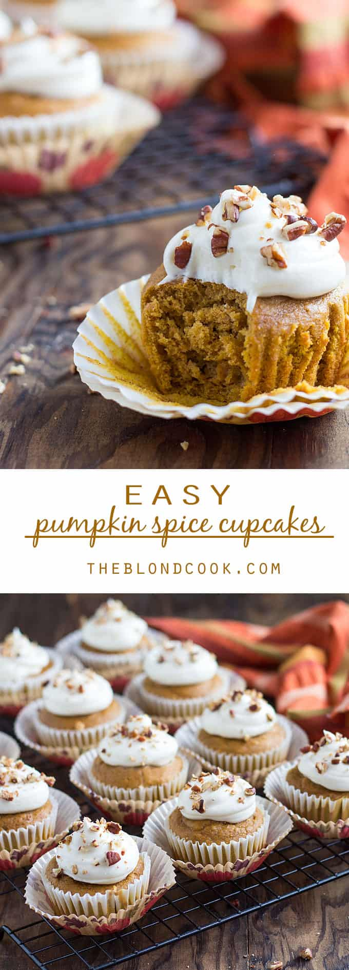 EASY Pumpkin Spice Cupcakes - Adding canned pumpkin puree to a boxed spice cake mix yields the easiest, flavorful fall cupcakes!