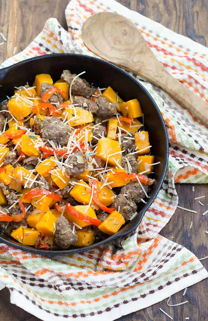 Sausage & Butternut Squash Skillet - Italian sausage, butternut squash, herbs and cheese come together in this fall-inspired skillet dinner!