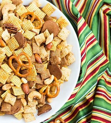 No holiday gathering is complete without Original Chex Party Mix with Chex cereal, nuts, pretzels, bagel chips and seasonings!